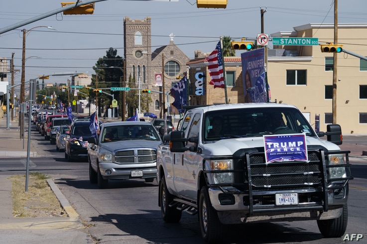 Trump supporters participate in a car parade on October 24, 2020 in El Paso, Texas. (Photo by Paul Ratje / AFP)