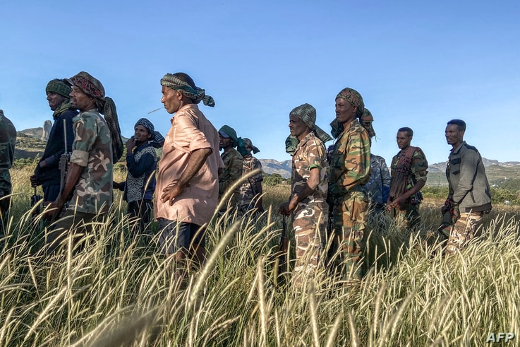 Amhara militia men, that combat alongside federal and regional forces against northern region of Tigray, receive training in…