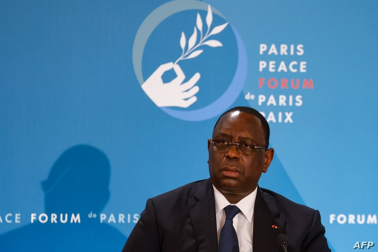 Senegal's President Macky Sall attends The Paris Peace Forum at The Elysee Palace in Paris on November 12, 2020.