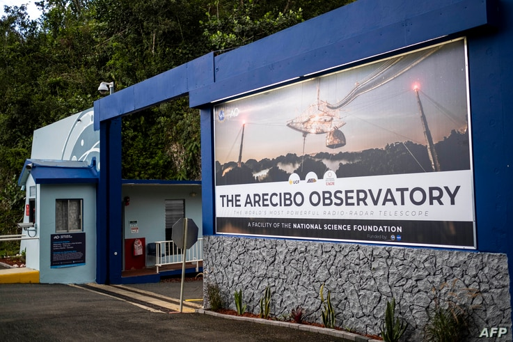 The main entrance of the Arecibo Observatory is seen in Arecibo, Puerto Rico on November 19, 2020. - The National Science…
