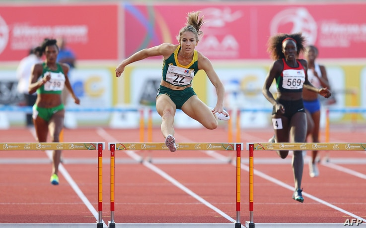 South Africa Wenda Nel jumps as she runs the 400m hurdles for women during day 5 of the Confederation of African Athletics (CAA…