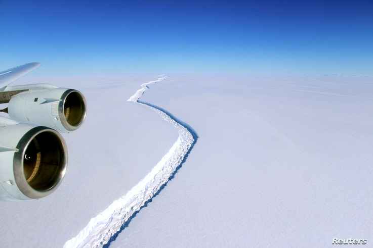 A rift across the Larsen C Ice Shelf that had grown longer and deeper is seen during an airborne surveys of changes in polar…