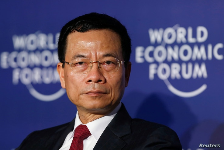 Vietnam's acting Minister of Information and Communication Nguyen Manh Hung attends the World Economic Forum on ASEAN at the…