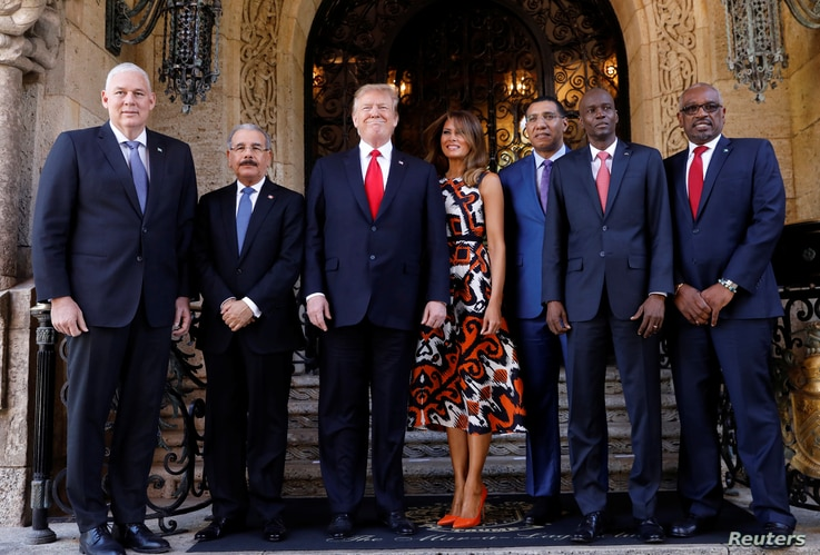 President Trump hosts a meeting with Caribbean leaders at his Mar-a-Lago estate in Palm Beach, Florida