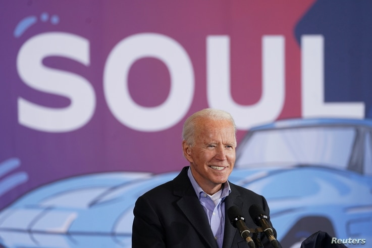 File -- Democratic U.S. presidential nominee and former Vice President Joe Biden speaks at the Get Out The Vote event in Cleveland,…