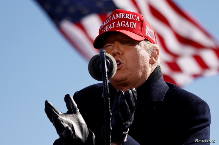 U.S. President Donald Trump speaks during a campaign rally at Fayetteville Regional Airport in Fayetteville, North Carolina, U…