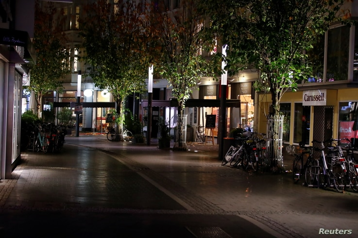 A shopping street in Bonn is seen empty at the beginning of a month-long COVID-19 lockdown in Germany November 2, 2020. REUTERS…