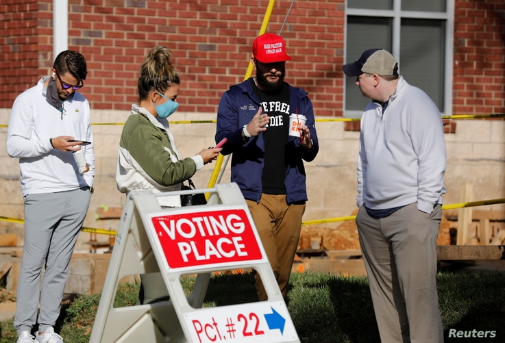 Voters line up at a polling station on Election Day in Charlotte, North Carolina, Nov. 3, 2020.