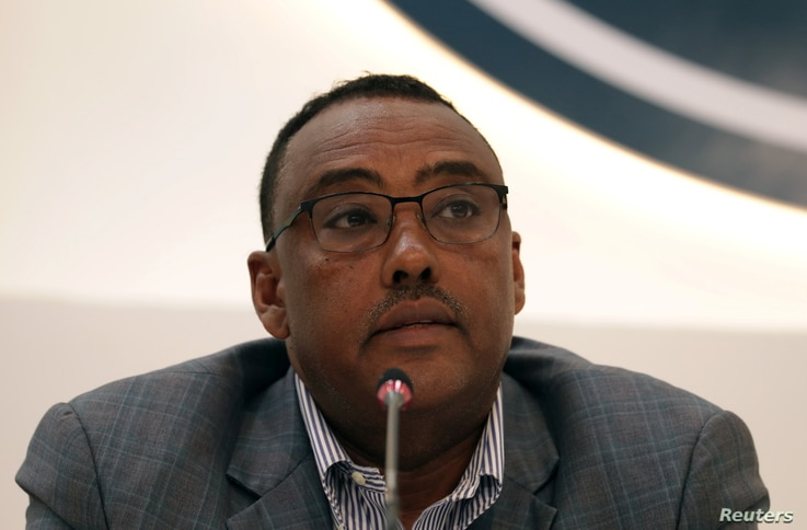 Deputy Prime Minister of Ethiopia Demeke Mekonnen, gives a press briefing on the current situation of the country at the Prime…