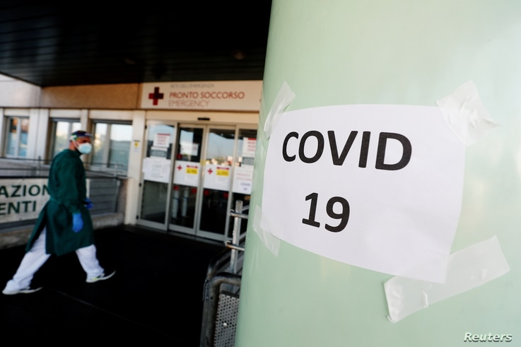 "A ""COVID-19"" sign is seen at the Policlinico Tor Vergata hospital where patients suffering from the coronavirus disease (COVID…"