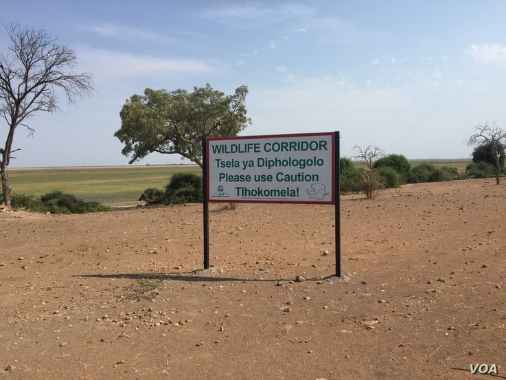 A sign shows a kilometer wide elephant corridor leading into Namibia and subsequently, Angola.(Mqondisi Dube/VOA)