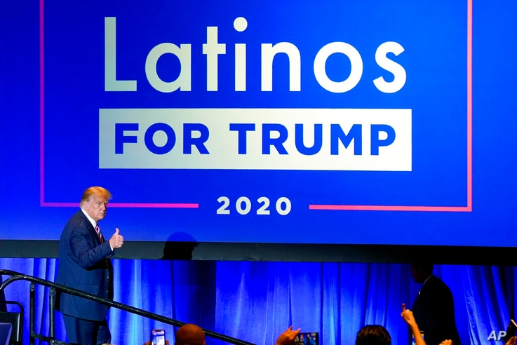 FILE - In this Sept. 14, 2020 file photo, President Donald Trump give a thumbs up to the cheering crowd after a Latinos for…