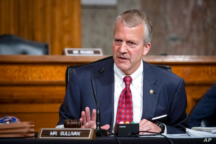 FILE - In this May 7, 2020, file photo, Sen. Dan Sullivan, R-Alaska, testifies during a hearing on Capitol Hill in Washington…