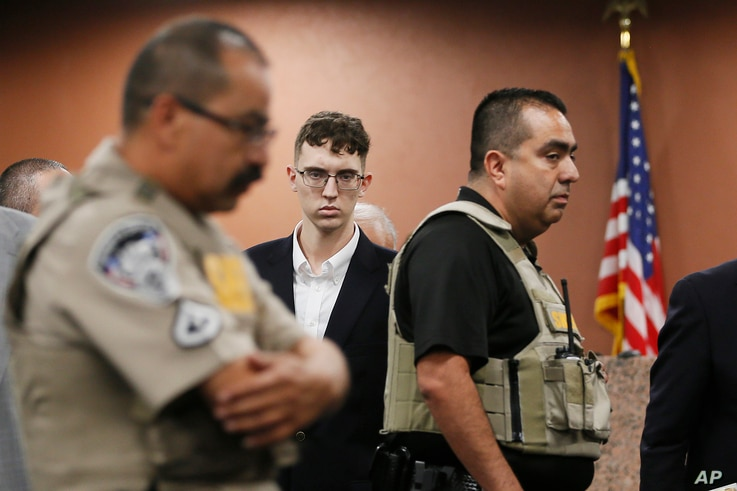 FILE - In the is Oct. 10, 2019 file photo, El Paso Walmart shooting suspect Patrick Crusius pleads not guilty during his…