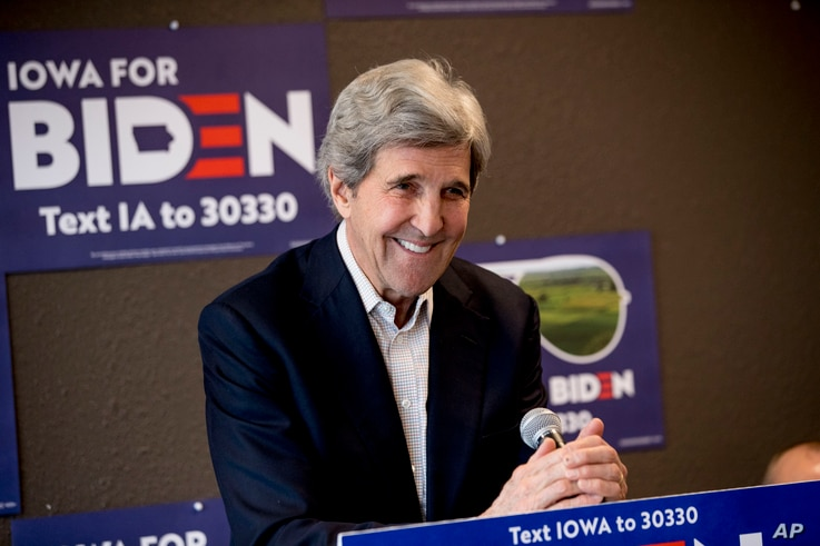 FILE - In this Jan. 9, 2020, file photo former Secretary of State John Kerry smiles while speaking at a campaign stop to…