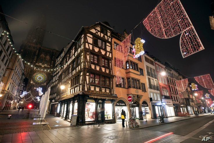 Christmas lightings are pictured where the Christmas market usually takes place, Friday, Nov.27, 2020 in Strasbourg, eastern…
