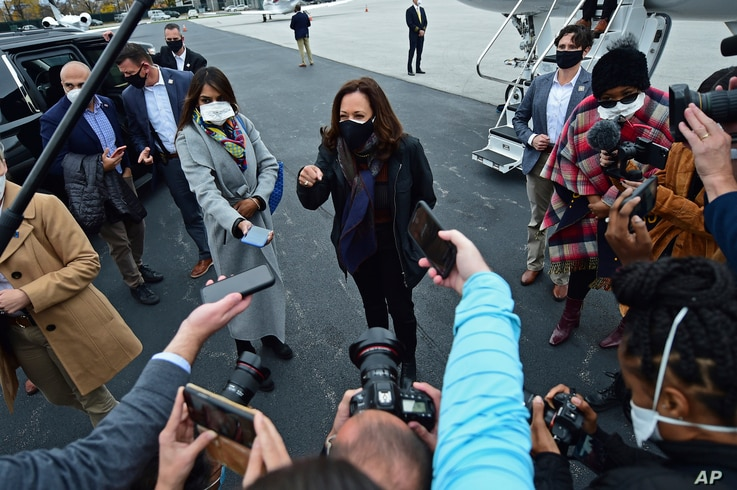 Democratic vice presidential candidate Sen. Kamala Harris, D-Calif. speaks to reporters before a campaign event, Oct. 24, 2020, in Cleveland.