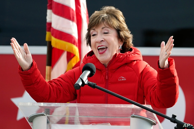 Republican Sen. Susan Collins, R-Maine, speaks on Wednesday, Nov. 4, 2020, in Bangor, Maine, after Tuesday's election. (AP…