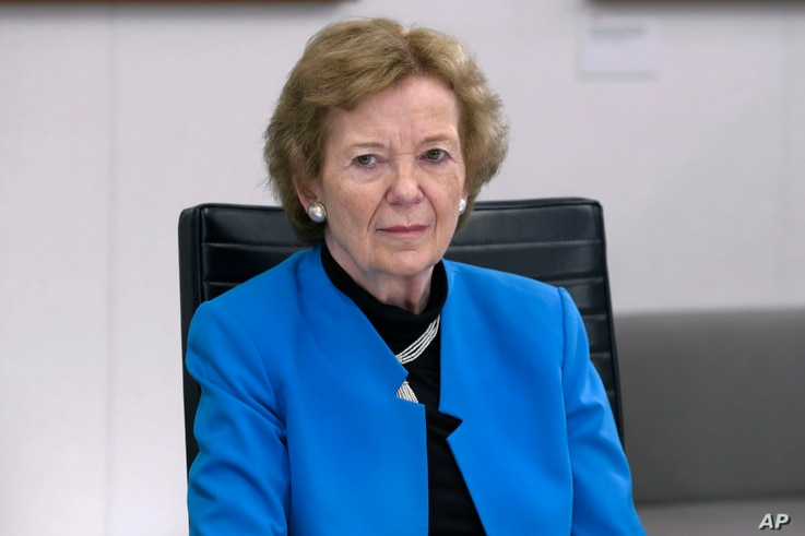 Former President of Ireland and former High Commissioner for Human Rights Mary Robinson speaks during a meeting at Associated…