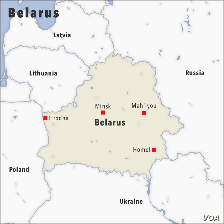 Map of Belarus, showing the cities of Minsk, Hrodna, Mahilyou and Homel