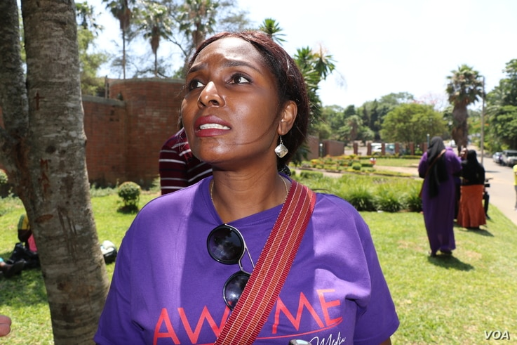 Edith Kambalame. led the of female journalists protests.. she says female journalists are fed up reporting about sexual abuses on wome and girls--photo by Lameck Masina.