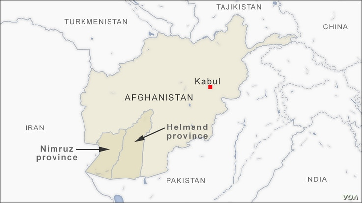 Map of Kabul, Helmand and Nimruz provinces, Afghanistan