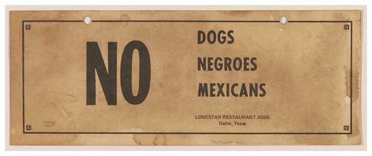 Jim Crow sign, Lonestar Restaurant Association, Dallas, Texas. (Library of Congress)