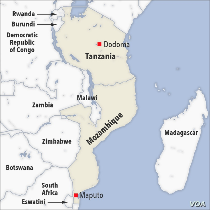 Map of Tanzania and Mozambique