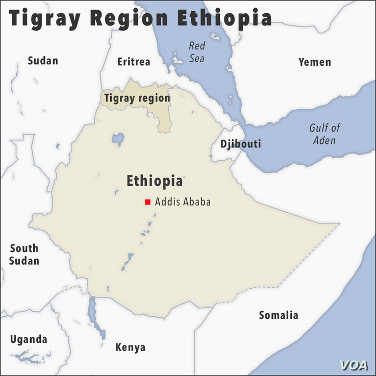 Map of Tigray region Ethiopia