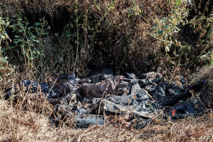 A general view of a ditch in the outskirts of Mai Kadra, Ethiopia, Nov. 21, 2020, filled with more than 20 bodies of victims that were allegedly killed in a massacre on Nov. 9, 2020.