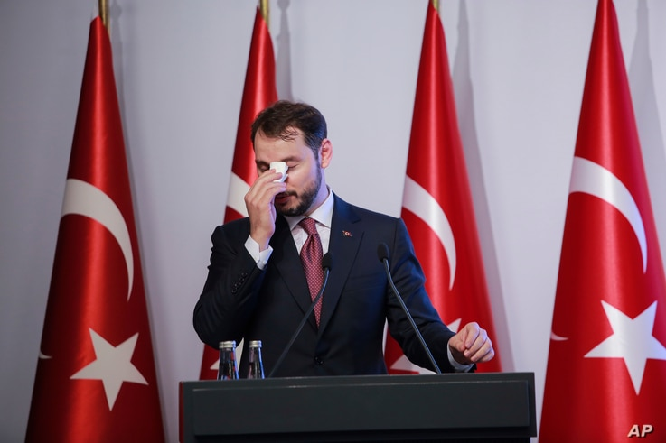 FILE - Turkish Finance Minister Berat Albayrak speaks during a conference to ease investor concerns about Turkey's economic policy, in Istanbul, Turkey, Nov. 8, 2020.