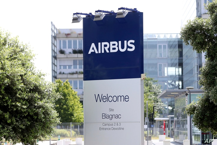 FILE - The logo of Airbus group is displayed in Toulouse, south of France, July 9, 2020.