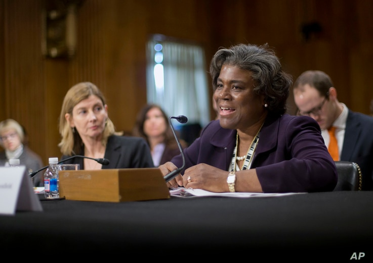 FILE - Then-Assistant Secretary of State for African Affairs Linda Thomas-Greenfield, right, testifies during a Senate Foreign Relations Committee hearing on Capitol Hill in Washington, Jan. 9, 2014.