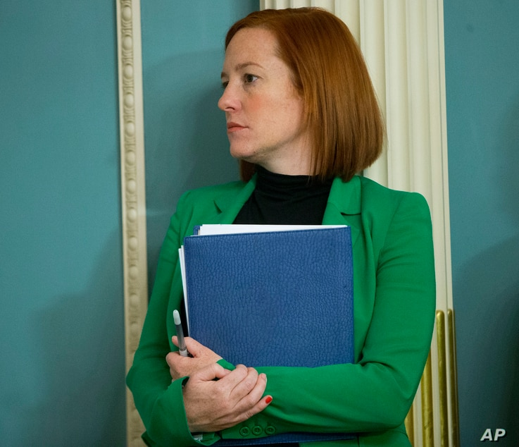 FILE - Then-State Department spokeswoman Jen Psaki stands in on a meeting in Washington, Feb. 27, 2015.