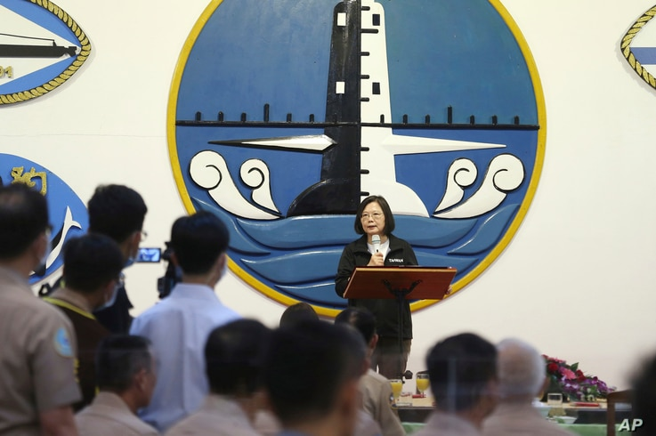 FILE - Taiwan's President Tsai Ing-wen delivers a speech during a visit to Zuoying navy base in Kaohsiung, southern Taiwan, Sept. 26, 2020.