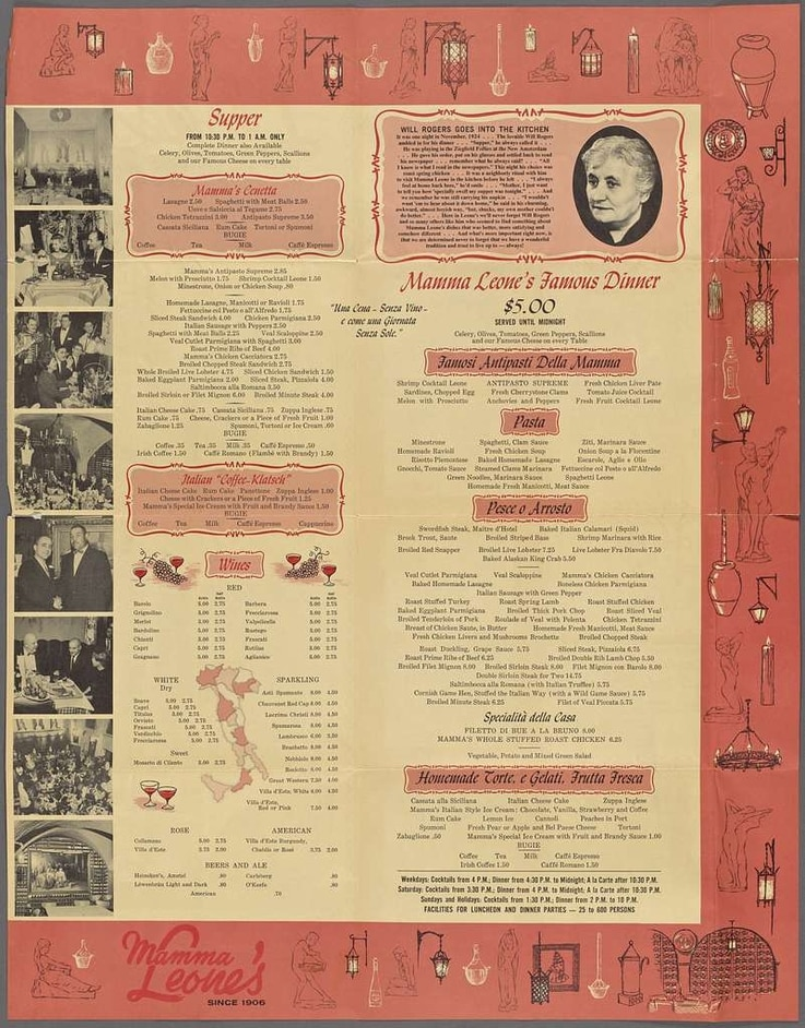 Menu from Mamma Leone's restaurant in New York City, which closed in 1994. (Courtesy New York Public Library)