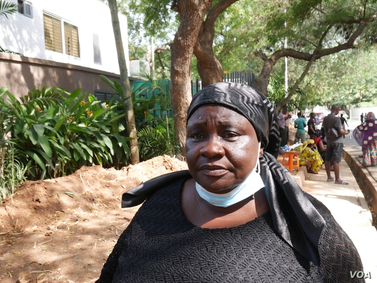 Rita Addo outside the residence of Rawlings,  on Nov 13 2020. Accra (Stacey Knott/VOA)
