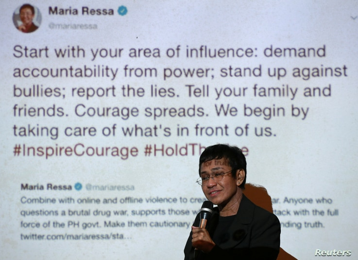 Maria Ressa speaks at an event attended by law students at the University of the Philippines College of Law in Quezon City, Metro Manila, Philippines, March 12, 2019.