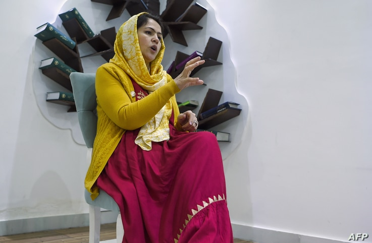 In this photo taken on February 18, 2019, Fawzia Koofi, a former member of Afghan Parliament and Chairperson of Women, Civil…