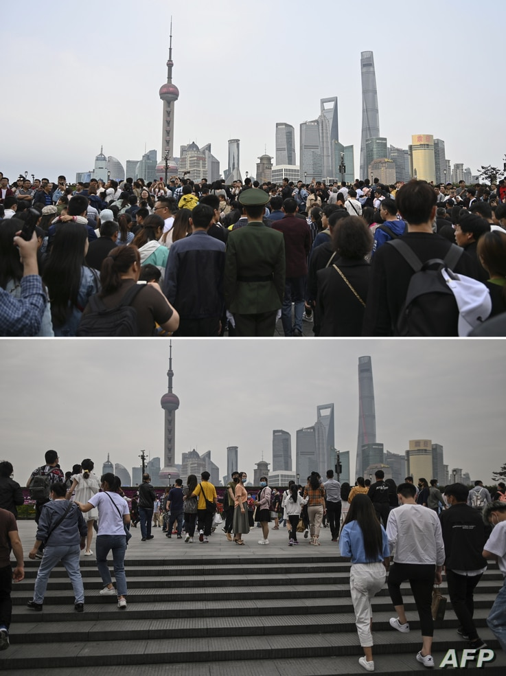 (COMBO) This combination of pictures created on May 1, 2020 shows people visiting the promenade on the Bund along the Huangpu…