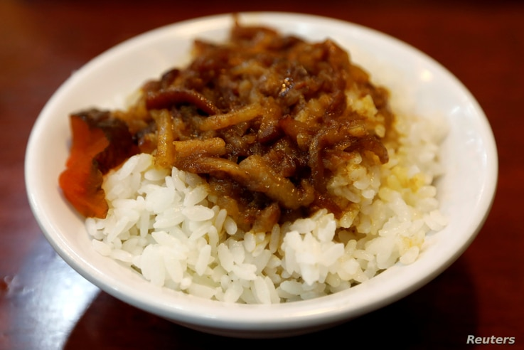 A bowl of rice with minced pork, a popular Taiwanese style dish, is seen at a restaurant in Taipei, Taiwan July 26, 2017…