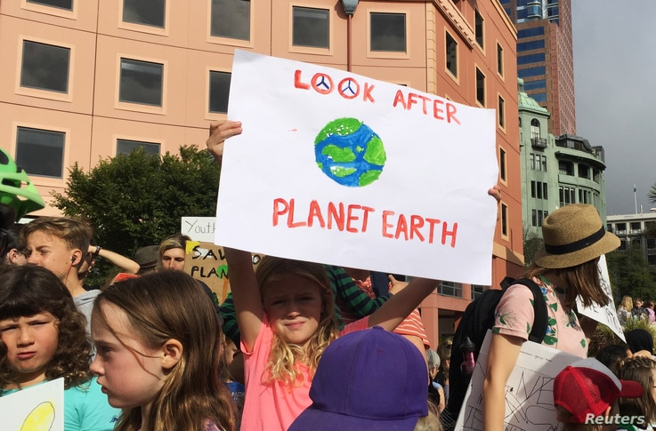 Protesters demanding action on climate change gather at Te Ngakau Civic Square in Wellington, New Zealand March 15, 2019. …