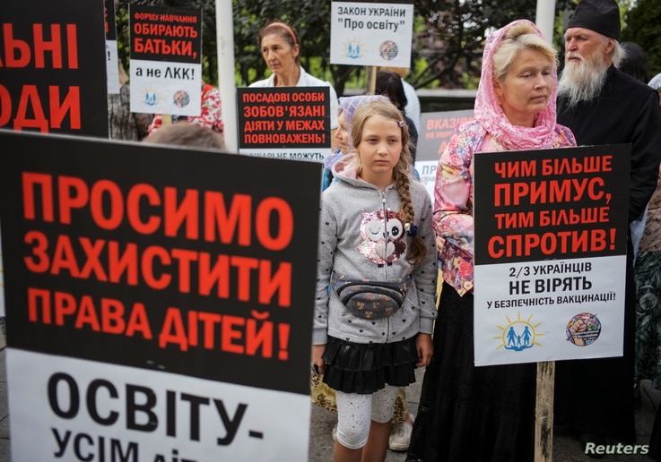 Anti-vaccination activists protest against the decision of the Health Ministry and Education Ministry to not allow children…