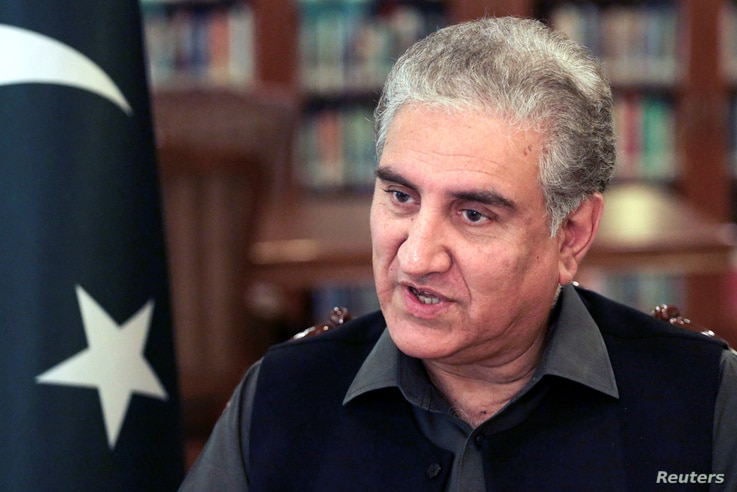 Pakistan's Foreign Minister Shah Mehmood Qureshi speaks during an interview with Reuters at the Ministry of Foreign Affairs …