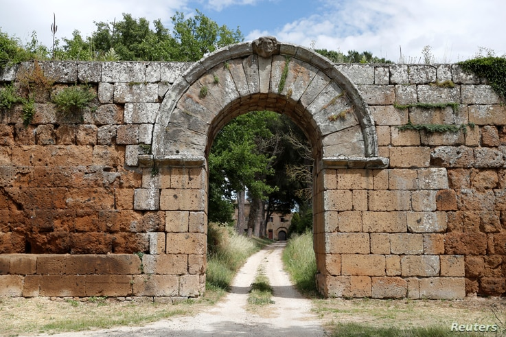Porta di Giove, the main entrance to the ancient Roman city of Falerii Novi, which is mostly buried underground, are seen after…