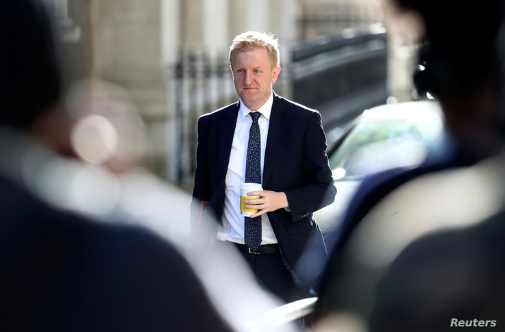 Britain's Secretary of State for Digital, Culture, Media and Sport Oliver Dowden arrives for a cabinet meeting, the first since…