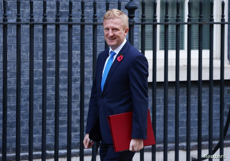 Britain's Secretary of State for Digital, Culture, Media and Sport Oliver Dowden outside Downing Street in London, Britain, Nov. 4, 2020.