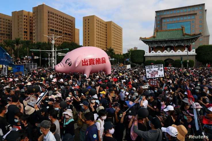 People join a protest to oppose the import of U.S. pork containing ractopamine, an additive that enhances leanness in Taipei,…