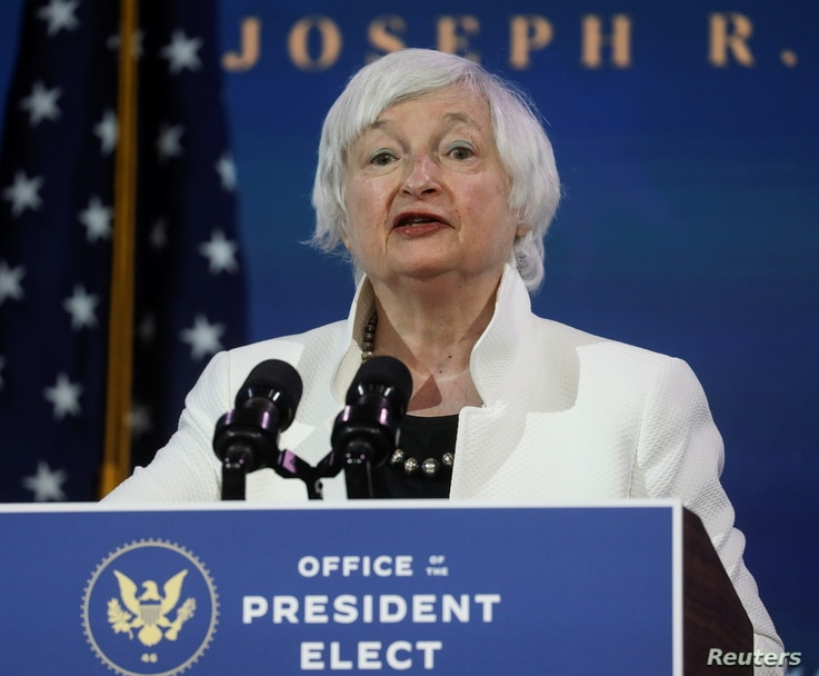Janet Yellen, U.S. President-elect Joe Biden's nominee to be treasury secretary, speaks as Biden announces nominees and...