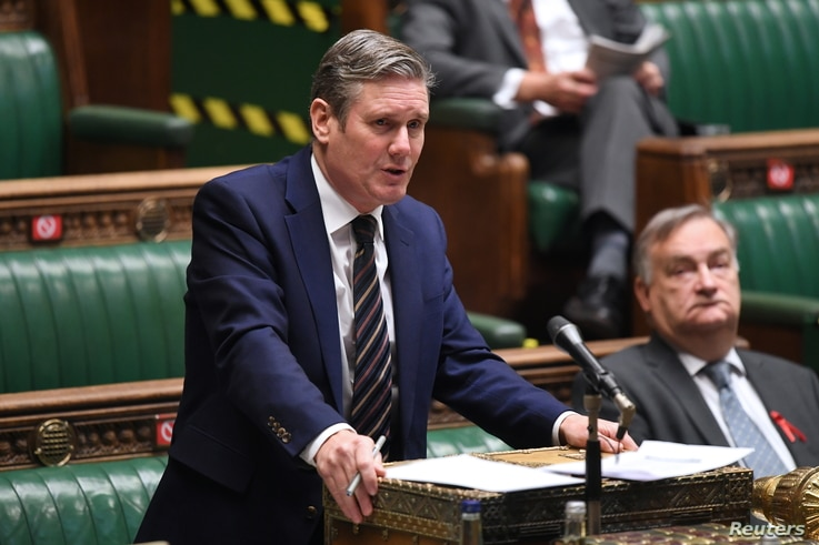 Britain's opposition Labour Party leader Keir Starmer speaks during Question Period at the House of Commons in London, Britain…